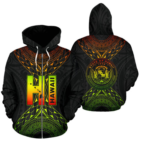 Image of Hawaii Map Polynesian All Over Zip-Up Hoodie