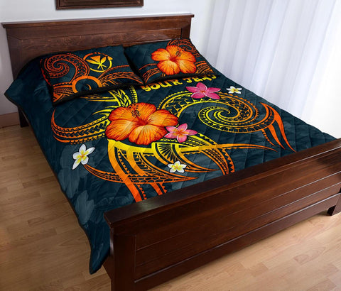 Image of Polynesian Hawaii Personalised Quilt Bed Set - Legend of Kanaka Maoli (Blue)