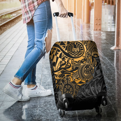 Tahiti Polynesian Luggage Cover - Gold Turtle Hibiscus Flowing