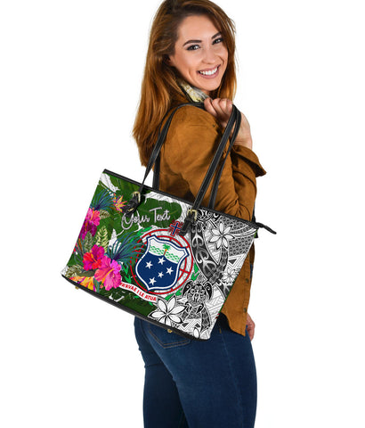 Image of Samoa Custom Personalised Large Leather Tote White - Turtle Plumeria Banana Leaf - BN11