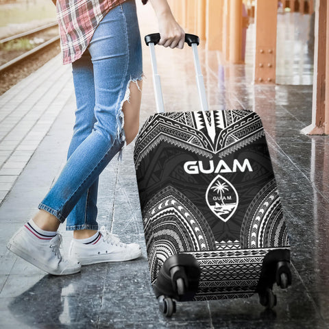 Guam Polynesian Chief Luggage Cover - Black Version - Bn10
