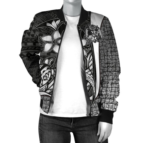 Image of Tonga Micronesian Women's Bomber Jackets White - Turtle With Hook - BN11