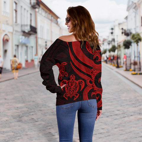 Tahiti Polynesian Women Of Shoulder Sweater - Red Tentacle Turtle - BN11