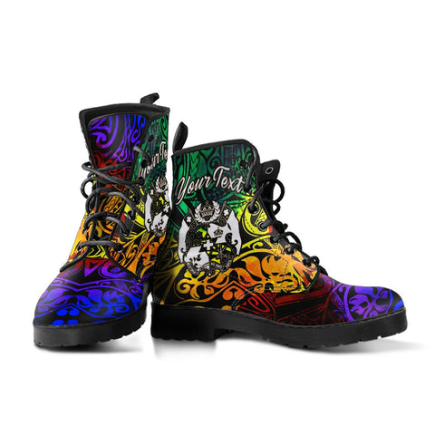 Image of Tonga Custom Personalised Leather Boots - Rainbow Polynesian Pattern - BN11