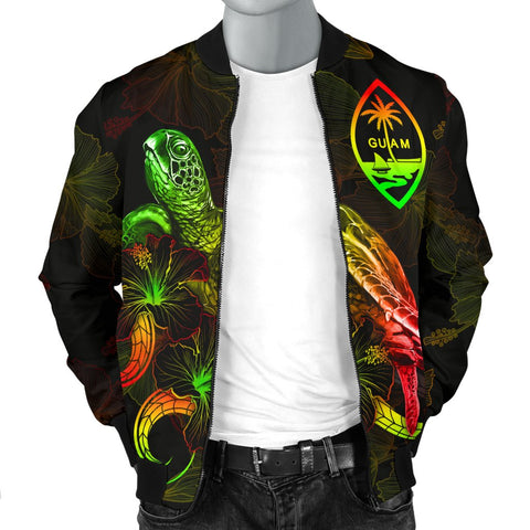 Guam Polynesian Men's Bomber Jacket - Turtle With Blooming Hibiscus Reggae