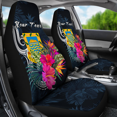 Tuvalu Polynesian Custom Personalised Car Seat Covers - Tropical Flower - BN12