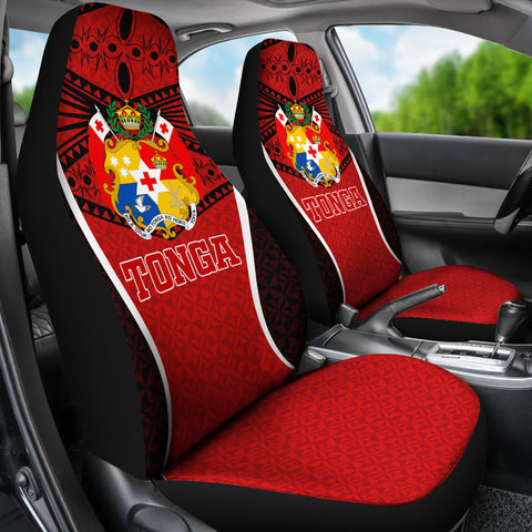 Image of Tonga Polynesian Car Seat Covers - Red Pattern - BN12