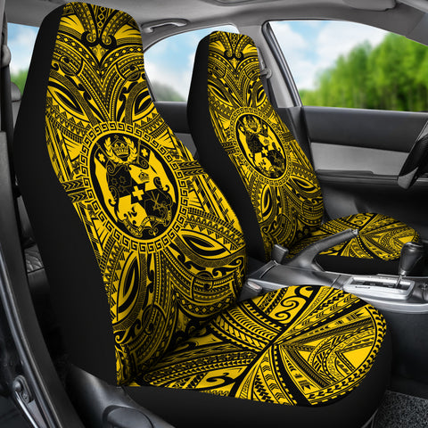 Tonga Car Seat Cover - Tonga Coat Of Arms Polynesian Gold Black Bn10