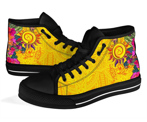 Polynesian High-Top Shoes - Vanuatu Symbols With Hibiscus