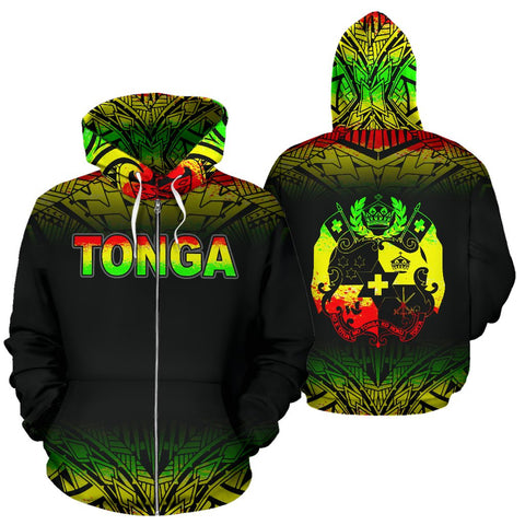 Image of Tonga Polynesian All Over Zip-Up Hoodie - Reggae Fog