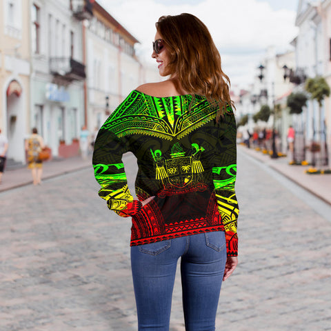 Image of Fiji Polynesian Chief Custom Personalised Women's Off Shoulder Sweater - Reggae Version - Bn10