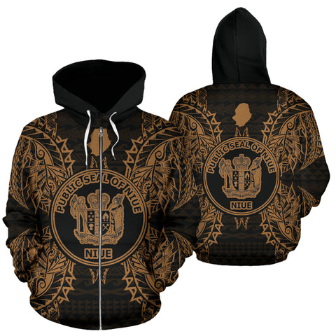 Niue Polynesian All Over Zip Up Hoodie Map Gold - BN39