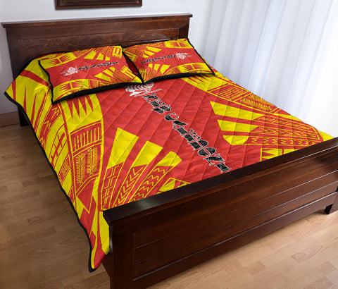 New Caledonia Polynesian Quilt Bed Set - Yellow Tattoo Style