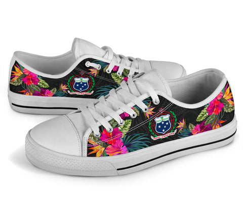 Samoa Low Top Shoe - Hibiscus Polynesian Pattern - BN39