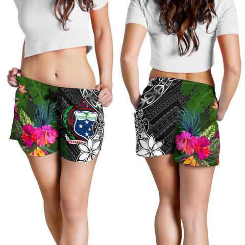 Image of Samoa Women Shorts - Turtle Plumeria Banana Leaf - BN11