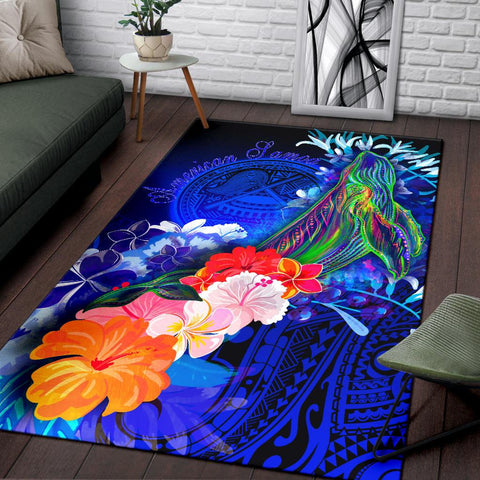American Samoa Polynesian Area Rug - Humpback Whale with Tropical Flowers (Blue)