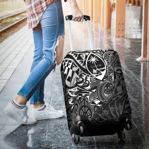 Guam Polynesian Luggage Covers - White Turtle Flowing