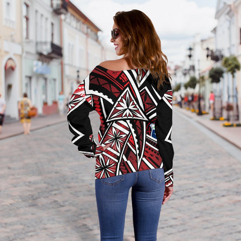 Image of Samoa Women's Off Shoulder Sweater - Tribal Flower Special Pattern Red Color - BN20
