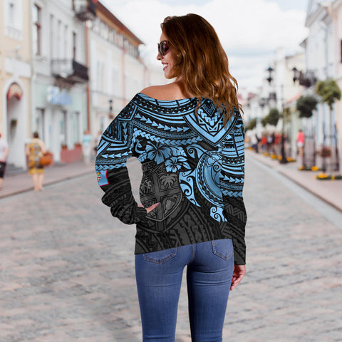 Image of Fiji Polynesian Women's Off Shoulder Sweater - Blue Turtle - BN1518