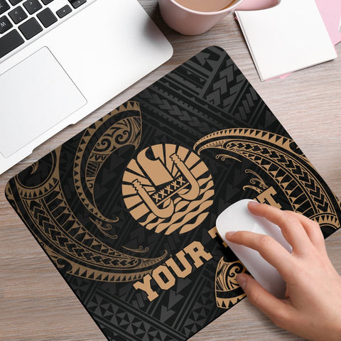 Tahiti Polynesian Custom Personalised Mouse Pad - Gold Tribal Wave - BN12
