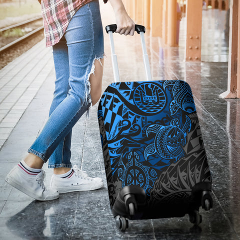 Tahiti Polynesian Luggage Cover - Blue Turtle Hibiscus Flowing