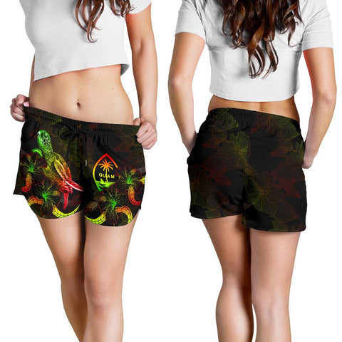 Image of Guam Polynesian Women's Shorts - Turtle With Blooming Hibiscus Reggae