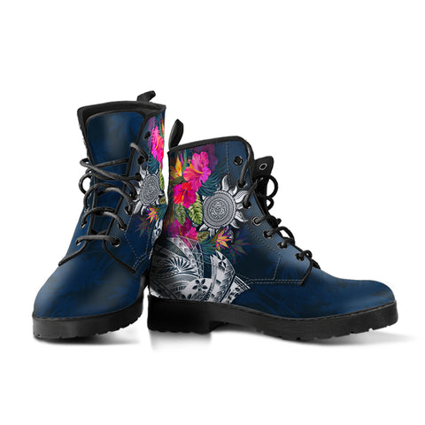 Polynesian Custom Personalised Leather Boots - Summer Vibes