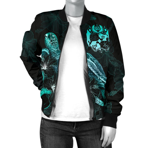 Tonga Polynesian Women's Bomber Jacket - Turtle With Blooming Hibiscus Turquoise