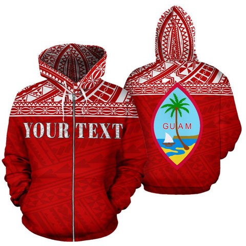 Guam Polynesian All Over Custom Personalised  Zip-Up Hoodie - Red Horizontal Style