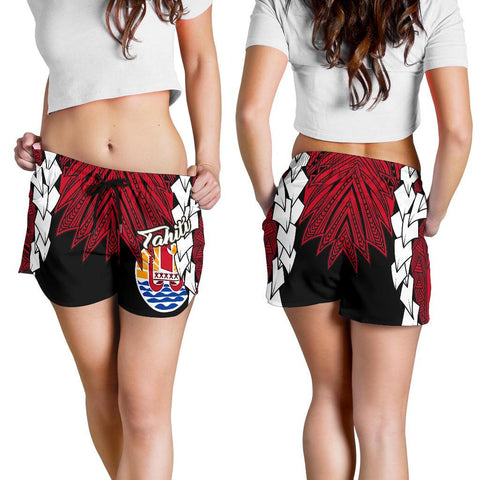Image of Tahiti Polynesian Women's Shorts - Tribal Wave Tattoo Flag Style