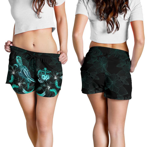 Samoa Polynesian Women's Shorts - Turtle With Blooming Hibiscus Turquoise