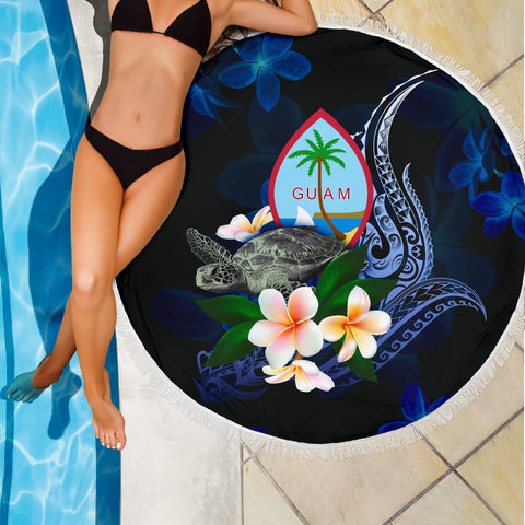 Guam Polynesian Beach Blanket - Turtle With Plumeria Flowers - BN12