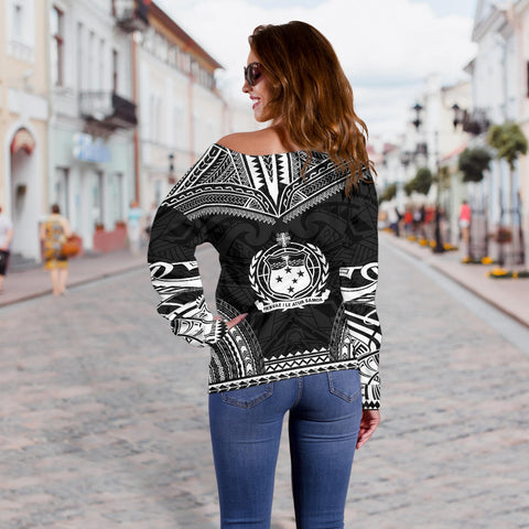 Image of Samoa Polynesian Chief Custom Personalised Women's Off Shoulder Sweater - Black Version - Bn10