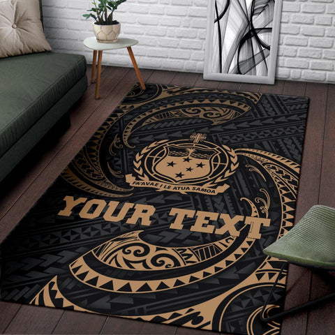 Samoa Polynesian Custom Personalised Area Rug - Gold Tribal Wave - BN12