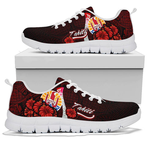Image of Tahiti Polynesian Sneakers - Coat Of Arm With Hibiscus - BN12