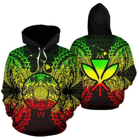 Polynesian Hawaii All Over Hoodie - Map Turtle Reggae - BN39