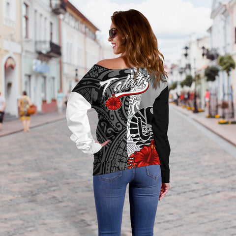Tahiti Polynesian Custom Personalised Women's Off Shoulder Sweater - Coat Of Arm With Hibiscus White - BN12
