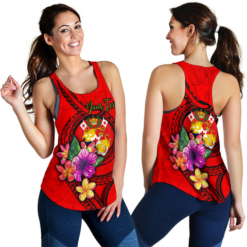 Tonga Polynesian Custom Personalised Women's Racerback Tank - Floral With Seal Red