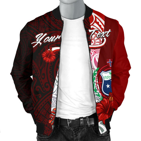 Samoa Polynesian Custom Personalised Men's Bomber Jacket - Coat Of Arm With Hibiscus - BN12