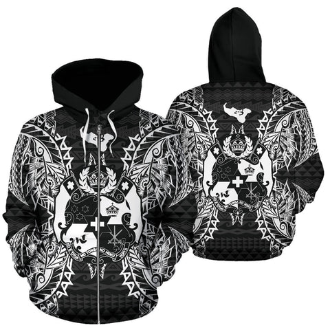 Tonga Polynesian All Over Zip Up Hoodie Map Black - BN39