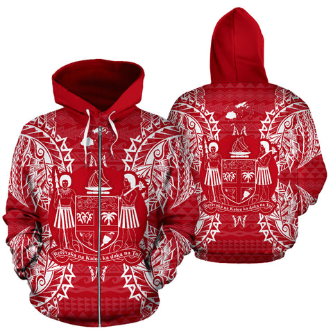 Fiji Polynesian All Over Zip Up Hoodie Map Red White - BN39