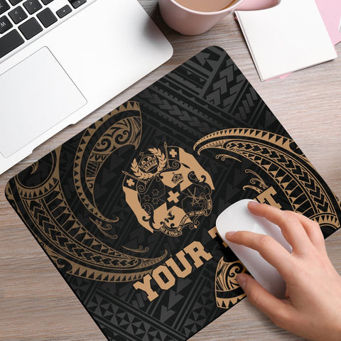 Tonga Polynesian Custom Personalised Mouse Pad - Gold Tribal Wave - BN12