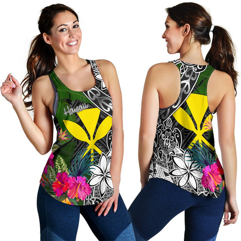 Hawaii Women Racerback Tank - Turtle Plumeria Banana Leaf - BN11