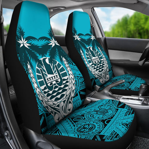 Image of Tahiti Car Seat Covers - Tahiti Flag Coconut Tree Blue Version - A02 1ST