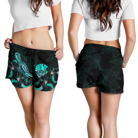 Image of Tahiti Polynesian Women's Shorts - Turtle With Blooming Hibiscus Turquoise