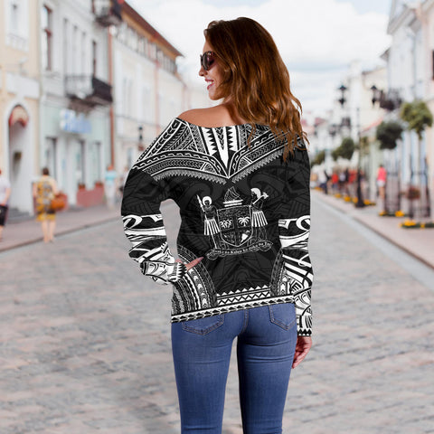 Image of Fiji Polynesian Chief Custom Personalised Women's Off Shoulder Sweater - Black Version - Bn10