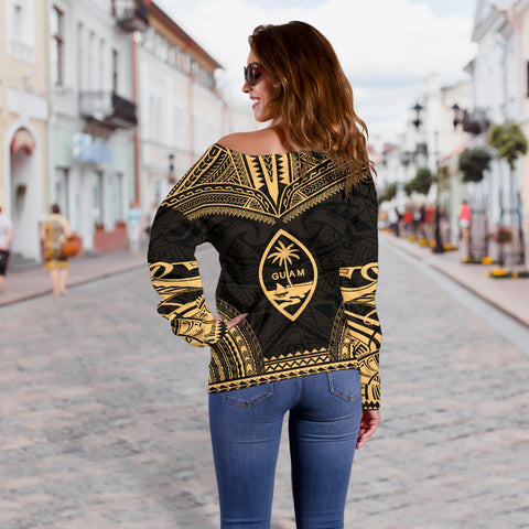 Guam Polynesian Chief Custom Personalised Women's Off Shoulder Sweater - Gold Version - Bn10