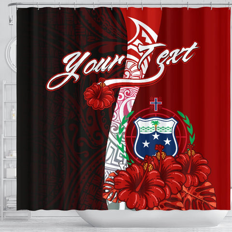 Samoa Polynesian Custom Personalised Shower Curtain - Coat Of Arm With Hibiscus - BN12
