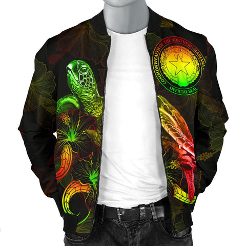 CNMI Polynesian Men's Bomber Jacket - Turtle With Blooming Hibiscus Reggae