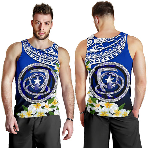 Image of Northern Mariana Islands Men's Tank Top - Polynesian Plumeria Pattern